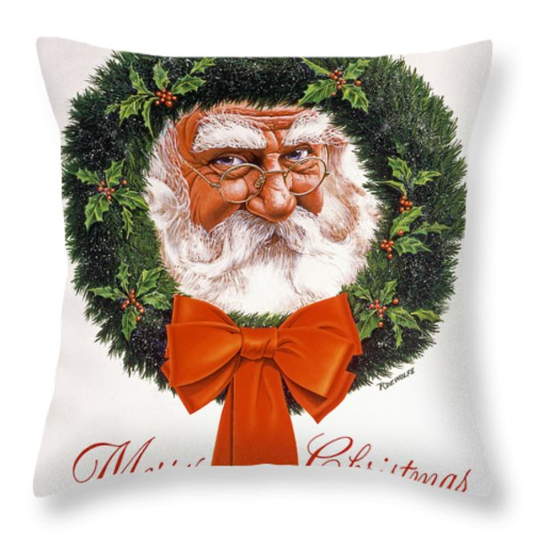 Jolly Old Saint Nick Throw Pillow by Richard De Wolfe