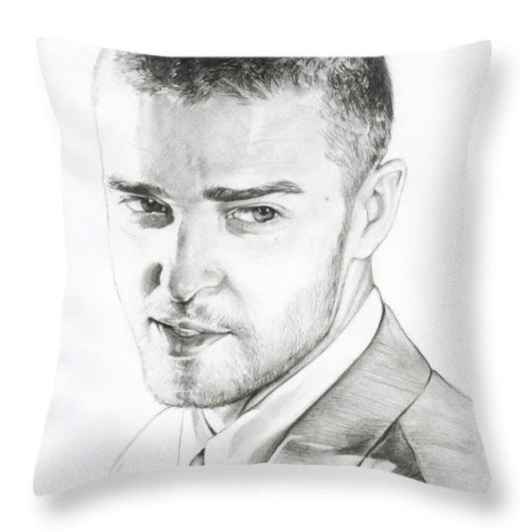 Justin Timberlake Drawing Throw Pillow by Lin Petershagen