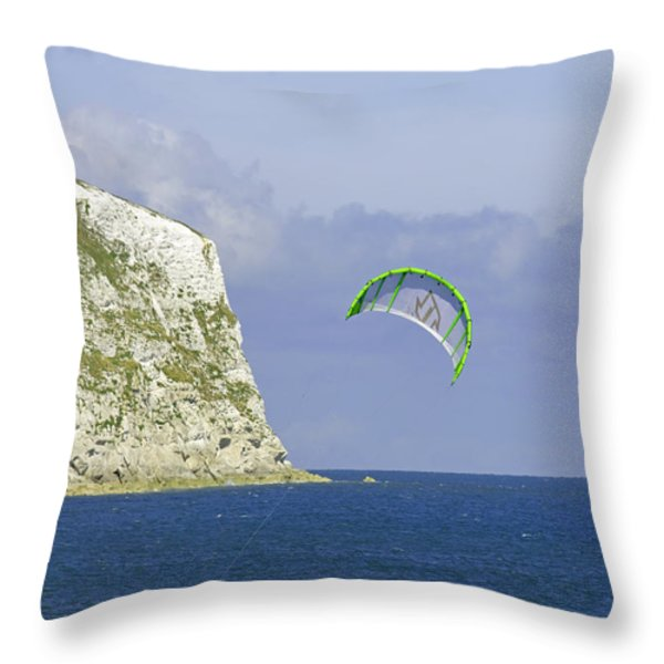 Kitesurfer At Yaverland Throw Pillow by Rod Johnson