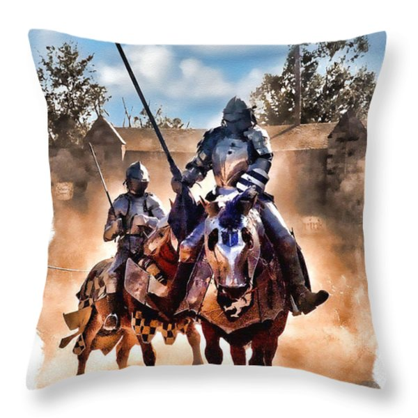 Knights Of Yore Throw Pillow by Tom Schmidt