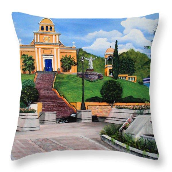 La Plaza De Moca Throw Pillow by Luis F Rodriguez