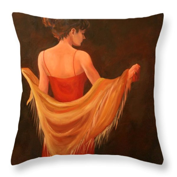 Lady In Red Throw Pillow by Lynn Chatman