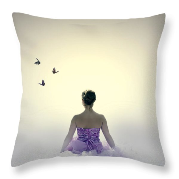 Lady On The Beach Throw Pillow by Joana Kruse