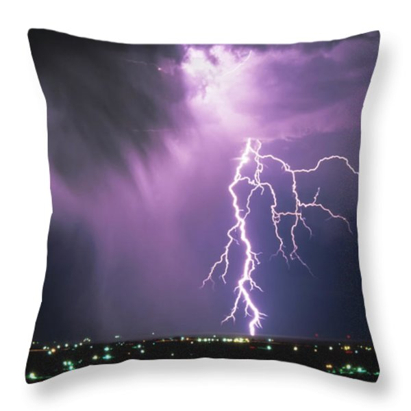 Lightning Storm Throw Pillow by Leland D Howard