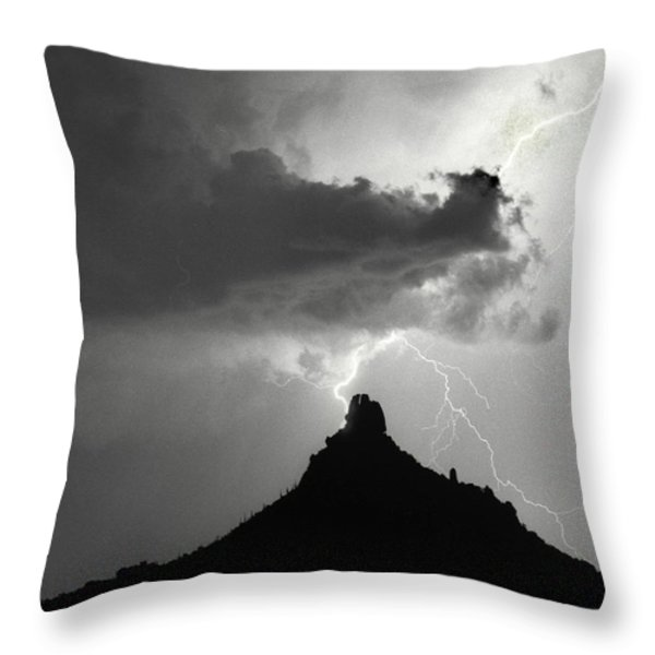 Lightning Striking Pinnacle Peak Arizona Throw Pillow by James BO  Insogna