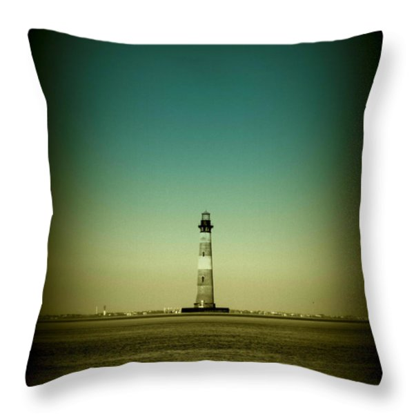 Ligthhouse At Morris Island Sc Throw Pillow by Susanne Van Hulst