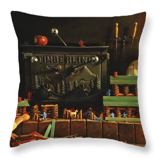 Lincoln Logs Throw Pillow by Greg Olsen
