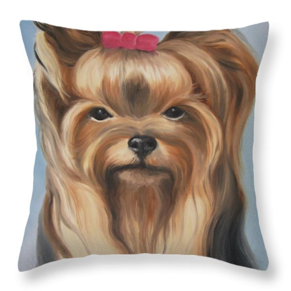 Little Yorkshire Princess Throw Pillow by Jindra Noewi