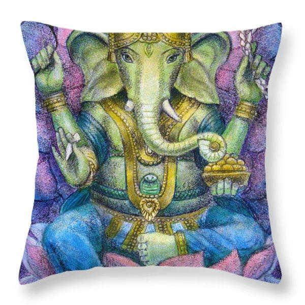 Lotus Ganesha Throw Pillow by Sue Halstenberg