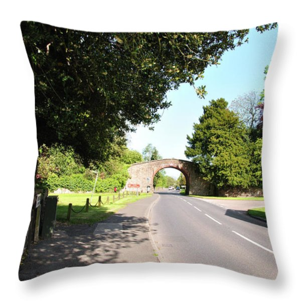 Main Street Ticknall And The Tramway Bridge Throw Pillow by Rod Johnson