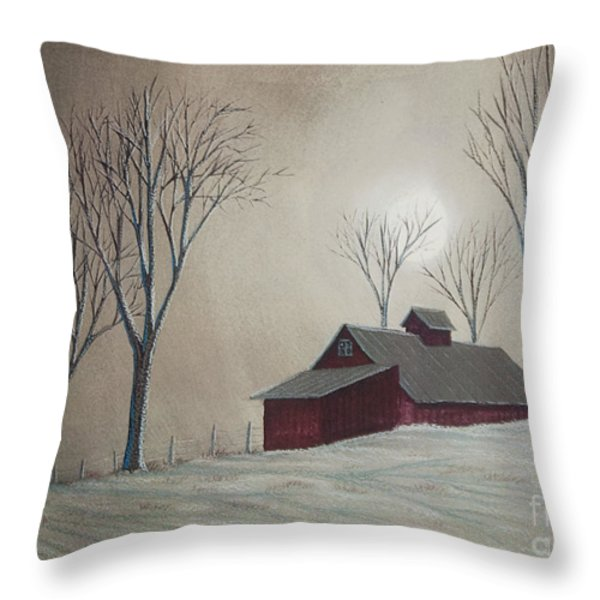 Majestic Winter Night Throw Pillow by Charlotte Blanchard
