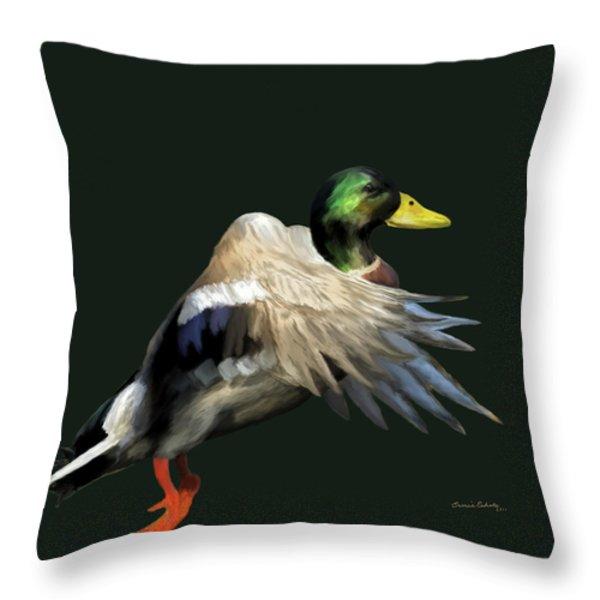 Mallard Freehand Throw Pillow by Ernie Echols