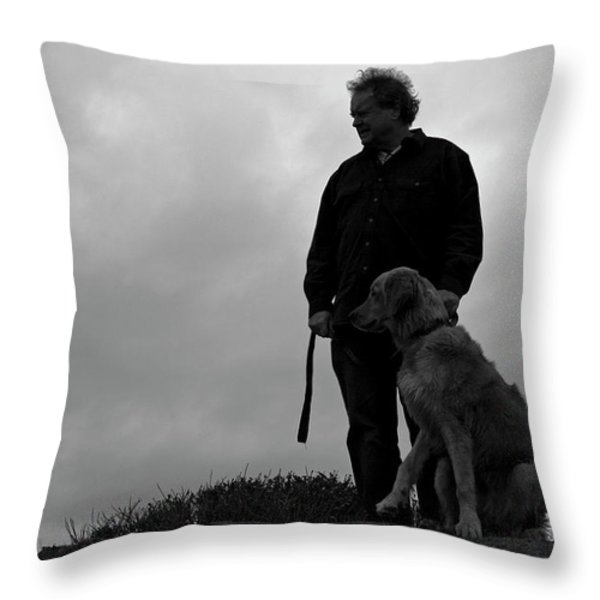 Man And His Dog In Silhouette Throw Pillow by Lorraine Devon Wilke