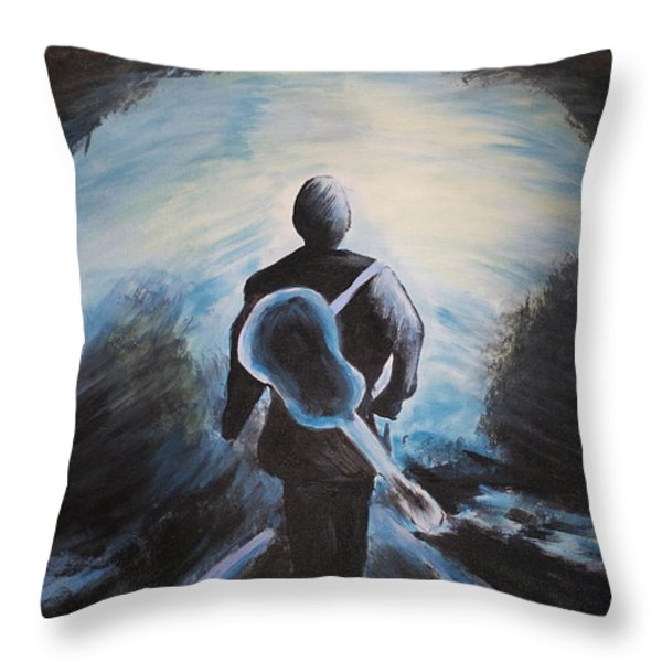 Man In Black Throw Pillow by Steven Dopka