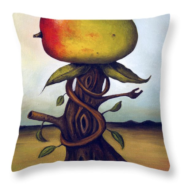Mango Tree Aka Senor Mango Throw Pillow by Leah Saulnier The Painting Maniac