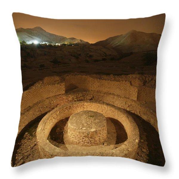 Masonry Foundations Beneath A Bathhouse Throw Pillow by Michael Melford