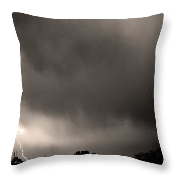 May Showers 3 In Sepia - Lightning Thunderstorm 5-10-2011 Boulde Throw Pillow by James BO  Insogna