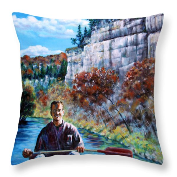 Mike On Float Trip Throw Pillow by John Lautermilch