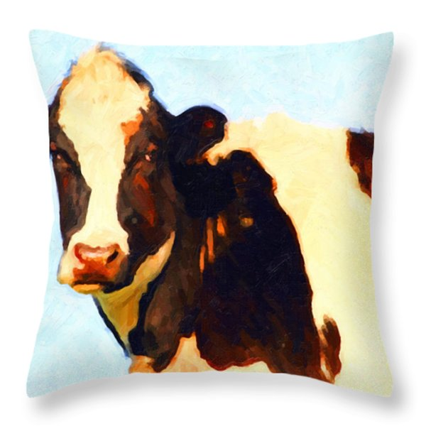 Milk Cow . Photoart Throw Pillow by Wingsdomain Art and Photography