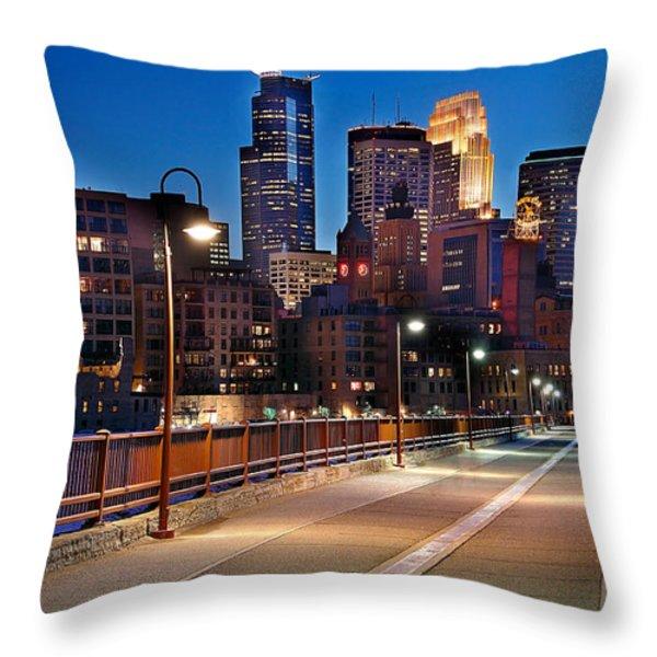 Minneapolis Skyline From Stone Arch Bridge Throw Pillow by Jon Holiday