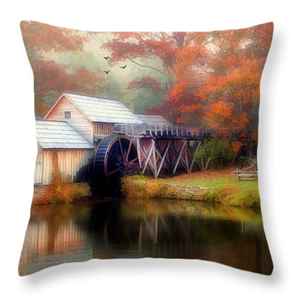 Morning At The Mill Throw Pillow by Darren Fisher