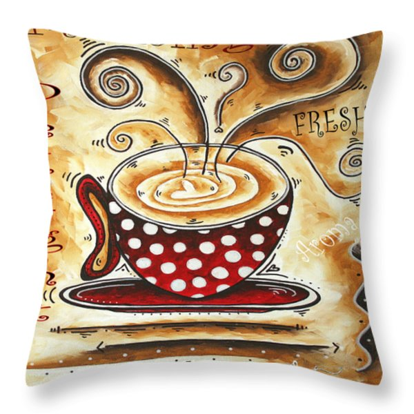 Morning Delight Original Painting Madart Throw Pillow by Megan Duncanson