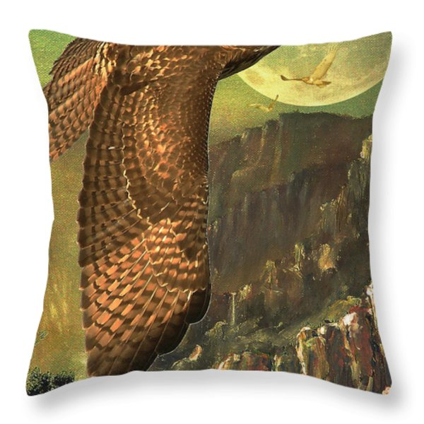 Mountain Of The Hawks Throw Pillow by Wingsdomain Art and Photography