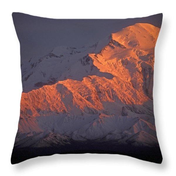 Mt. Mckinley Sunset Throw Pillow by Sandra Bronstein