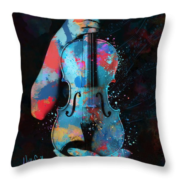 My Violin Whispers Music In The Night Throw Pillow by Nikki Marie Smith