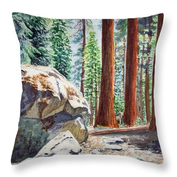 National Park Sequoia Throw Pillow by Irina Sztukowski