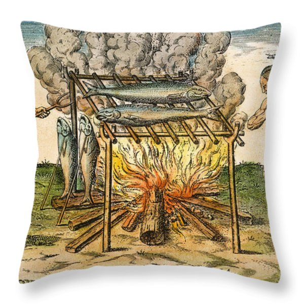 Native Americans: Barbecue, 1590 Throw Pillow by Granger
