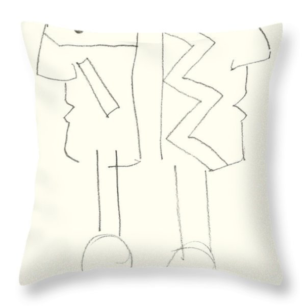 Native Americans Drawing Throw Pillow by Charles Stuart
