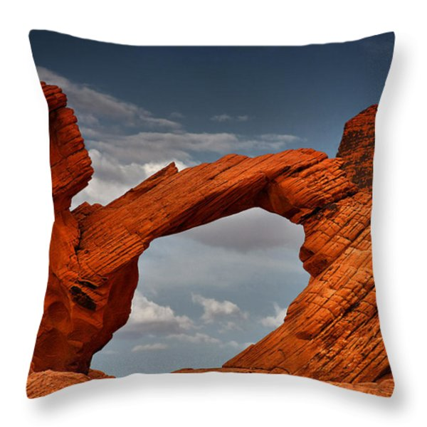 Natural Arch - Valley Of Fire - Nevada Throw Pillow by Christine Till