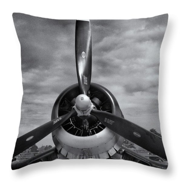 Navy Corsair Propeller Throw Pillow by Roger Wedegis