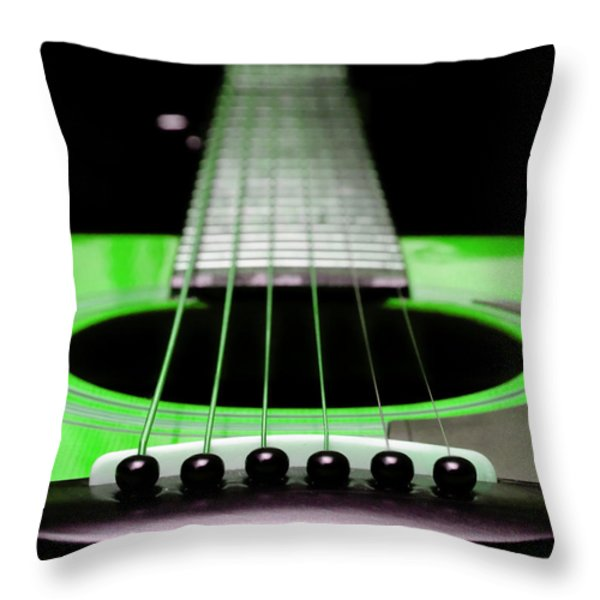 Neon Green Guitar 18 Throw Pillow by Andee Design