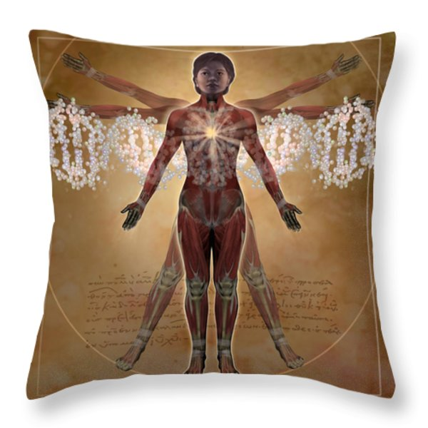 New Vitruvian Woman Throw Pillow by Jim Dowdalls and Photo Researchers