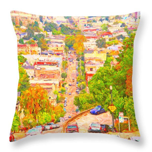 Noe Street San Francisco Throw Pillow by Wingsdomain Art and Photography