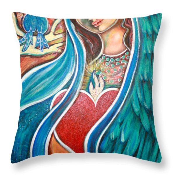 Nuestra Senora Maestosa Throw Pillow by Shiloh Sophia McCloud
