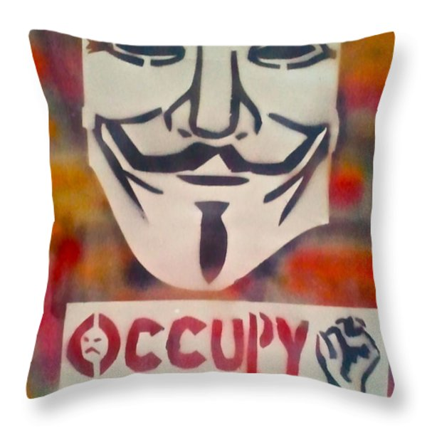 Occupy Mask Throw Pillow by Tony B Conscious