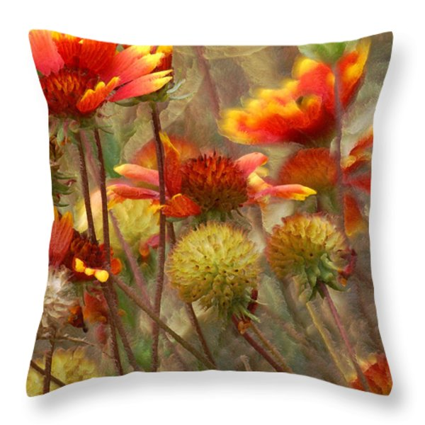 October Flowers 2 Throw Pillow by Ernie Echols
