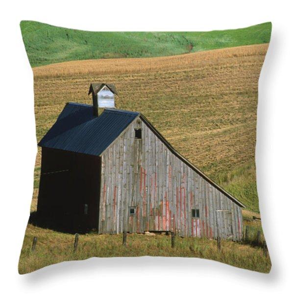 Old Palouse Barn Throw Pillow by Sandra Bronstein