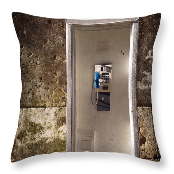 Old Phonebooth Throw Pillow by Carlos Caetano