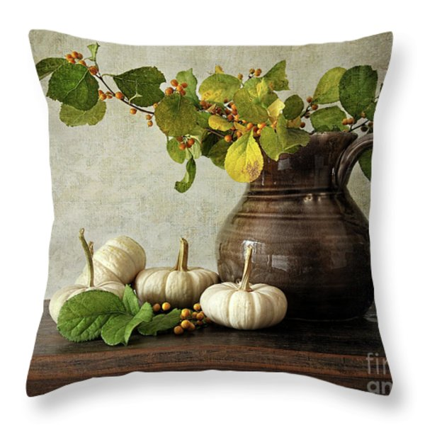 Old Pitcher With Gourds Throw Pillow by Sandra Cunningham