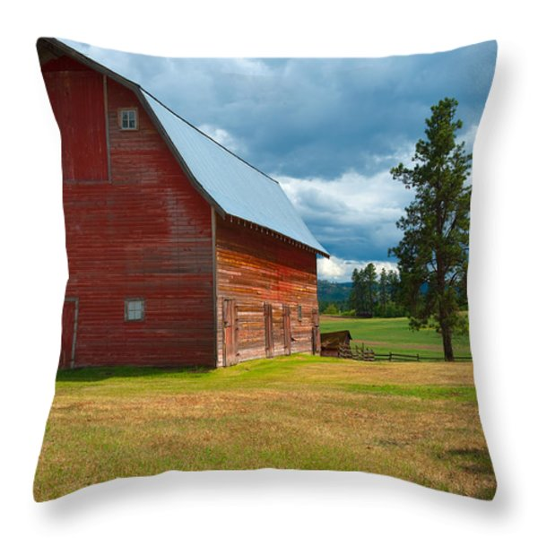 Old Red Big Sky Barn Throw Pillow by Sandra Bronstein