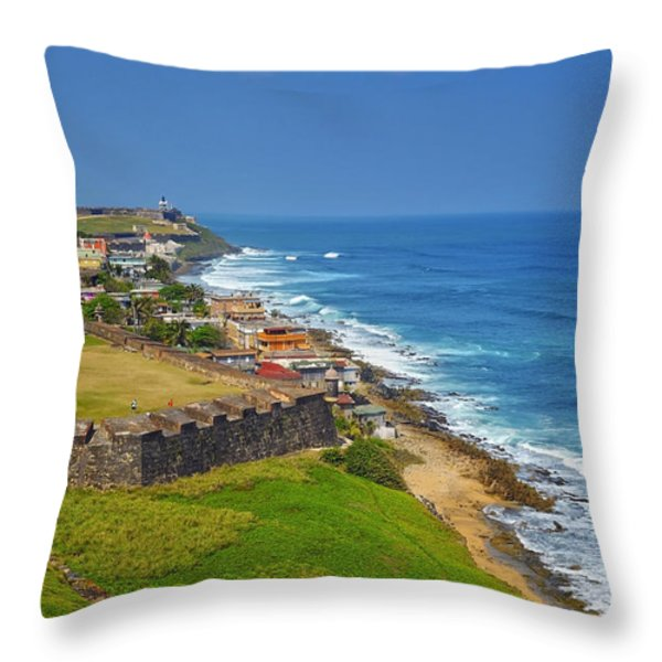 Old San Juan Coastline Throw Pillow by Stephen Anderson