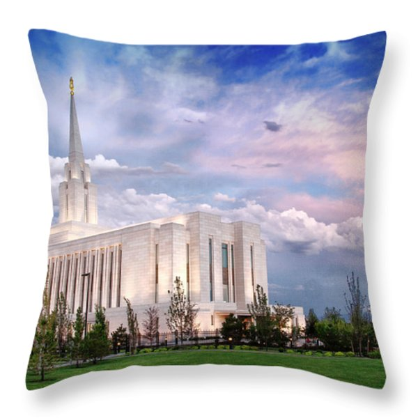 Oquirrh Mt Temple Throw Pillow by La Rae  Roberts