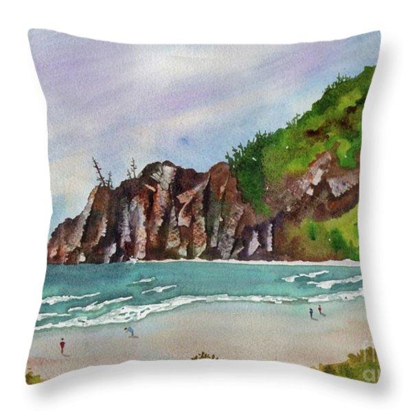 Oregon Coast Throw Pillow by Melanie Pruitt