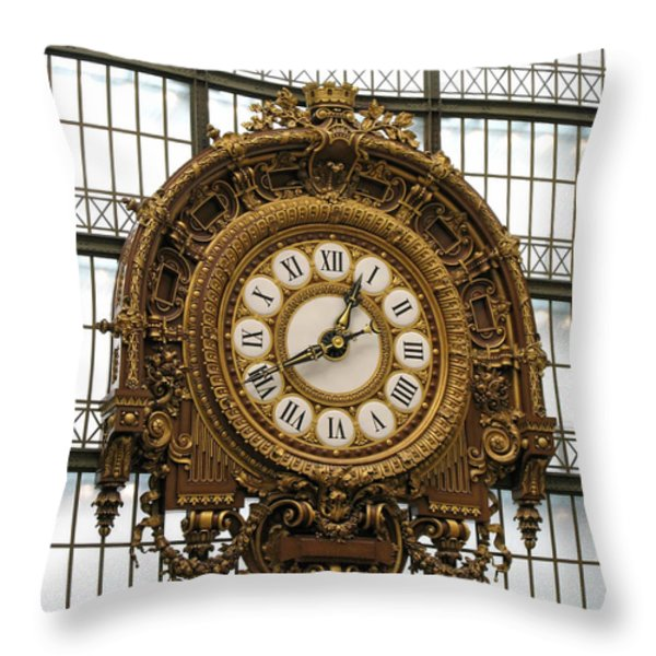 Ornate Orsay Clock Throw Pillow by Ann Horn