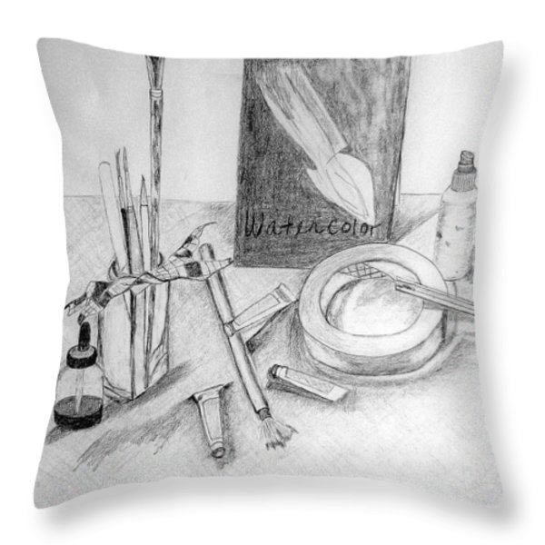 Painting Supplies Throw Pillow by Jamie Frier
