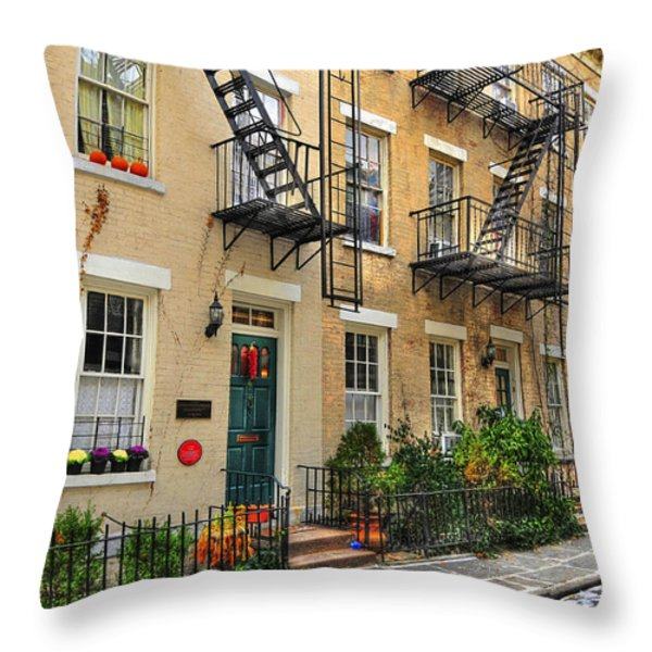 Patchin Place - Ee Cumming's Historic Home Throw Pillow by Randy Aveille